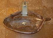 Blatt Waschbecken Marmor Rain Forest Brown No.16