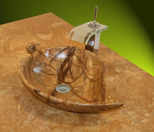 Handgearbeitetes Marmorwaschbecken als Blatt