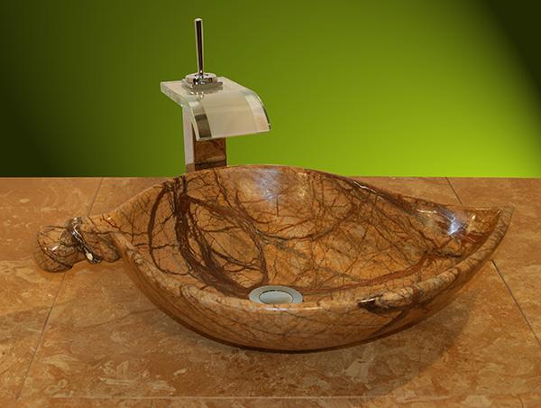 Natürliches Marmorwaschbecken als Blatt
