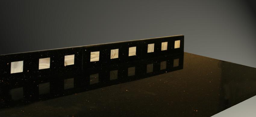 Bordüre No.2 Star Galaxy-Perlmutt Granit Edelstein, Sockelleiste und Abschlussleiste, schwarz