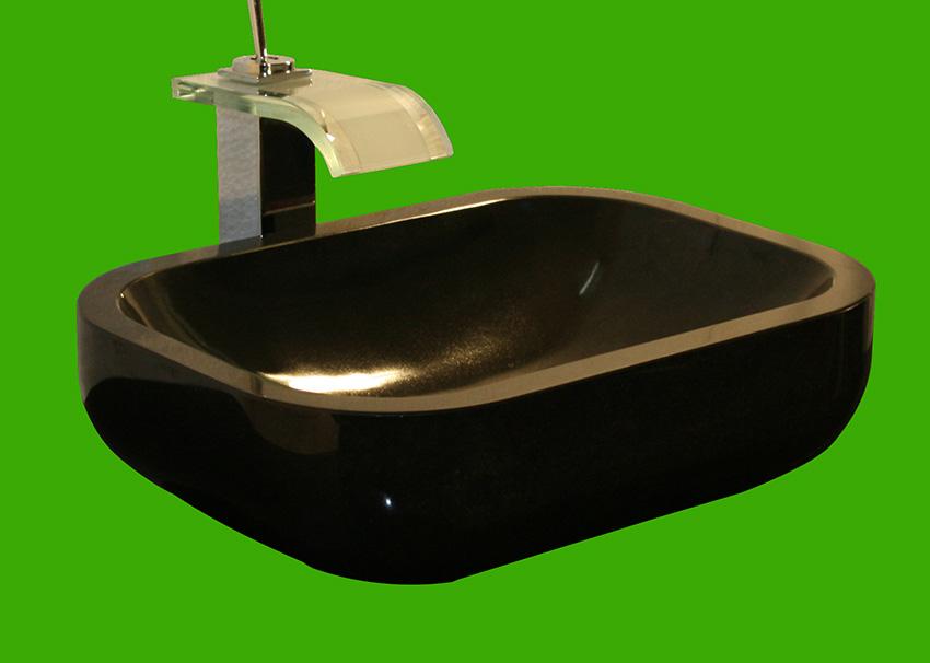 Schwarzes Nero Assoluto Granit Bad Waschbecken