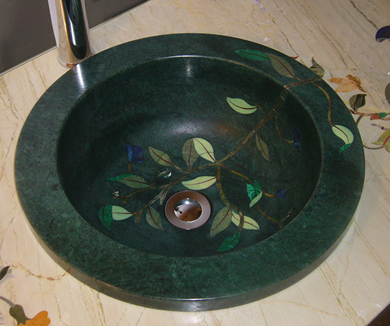 Pietra Dura Intarsien Waschbecken