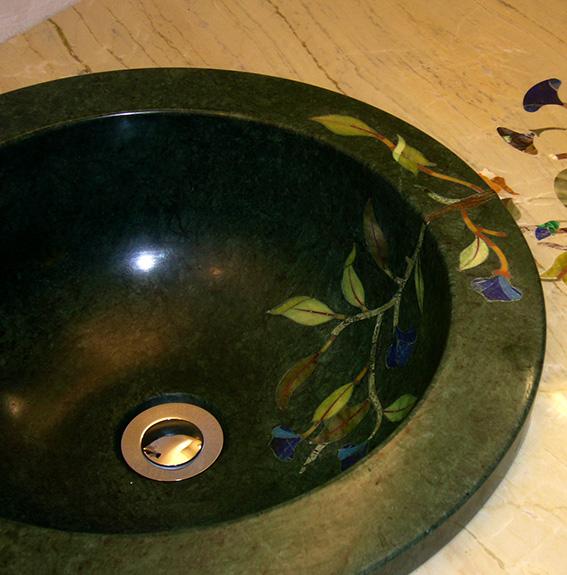 Grünes Pietra Dura Intarsien Waschbecken