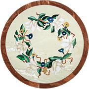 Runde Marmor Intarsien Platte Art No.1
