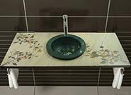 Intarsien Marmor Waschtisch und Waschbecken