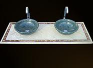 Beige Intarsien Waschtisch und grüne Verde Guatemala Waschbecken