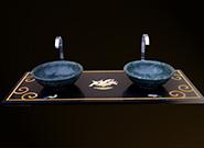 Edelstein Intarsien Marmor Waschtisch und Verde Guatemala Waschbecken