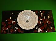 Perlmutt Becken und schwarzer Blumen Intarsien Waschtisch
