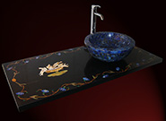 Edelstein Intarsien Marmor Waschtisch und blaues Lapislazuli Waschbecken