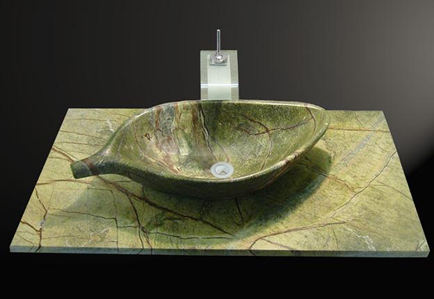 Rain Forest Green Marmor Naturstein Waschtisch und Blatt Waschbecken