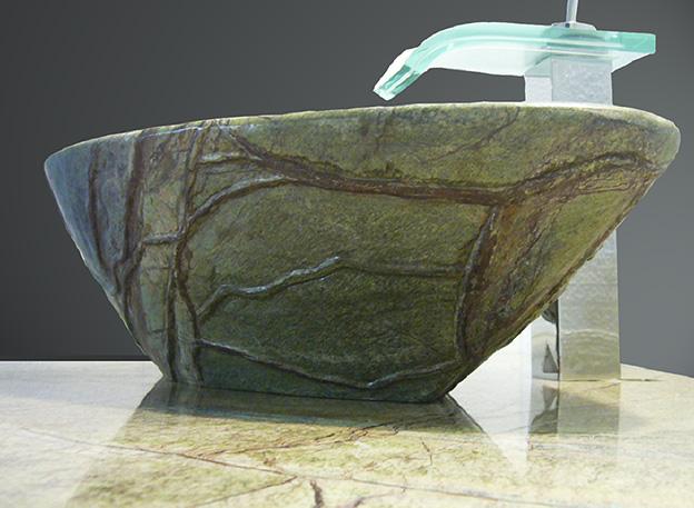 Rain Forest Green Marmor Naturstein Waschtisch und Waschschale als Blatt