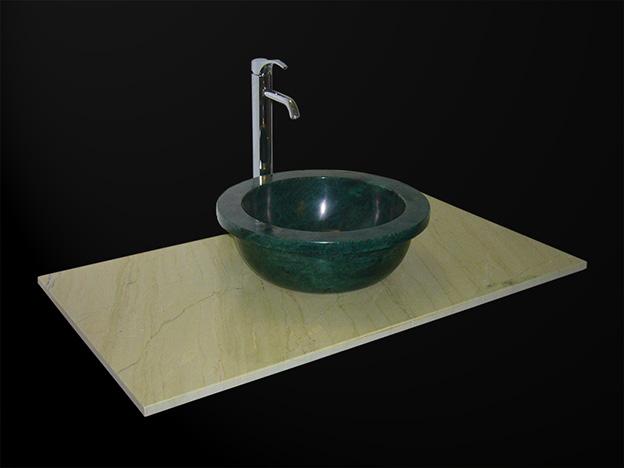 Crema Aurisma Marmor Waschtisch und rundes Verde Guatemala Waschbecken